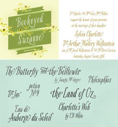Tart Workshop fonts: Bookeyed Suzanne, Bookeyed Nelson, Madelinette, Nelly Script Flourish ... they're not free, but they're amazing. (29.95 each for Suzanne and Nelson, 39 each for Madelinette and Nelly.)