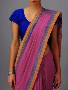 Pink-orange Andhra Cotton Saree