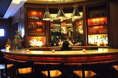 Furniture, Restaurant Bar Design Ideas With Nice Pendant Lamp Wine Racks Candle Lights With Nice Stools And Wonderful Lighting Design: Decorating Restaurant Bar Design ideas