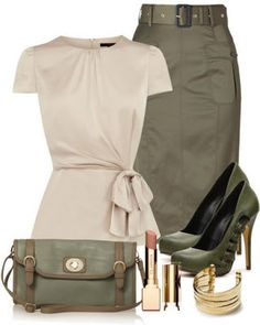 How to Wear Military Trend for spring 2014 - Pretty Designs - - Why I Like It: Colors, fitted, military style but heels are too high. Could use a lower neckline if I were wearing this Source by