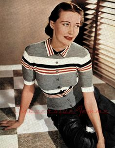 The Vintage Pattern Files: Free 1940's Knitting Pattern - Smart Striped Button-up Jumper