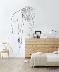 NUDES is our special collection of minimalistic drawings inspired by the beauty of women's body Creative Wall Painting, Diy Painting, Figure Painting, Wall Drawing, Art Drawings, Outline Art, Silhouette Painting, Art N Craft, Bedroom Art