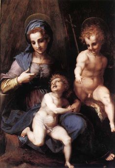 Andrea del Sarto, the madonna and child, Saint Elizabeth and the Baptist, 1513
