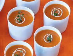 Soup at a stand-up affair? It's possible—and perfectly elegant —when you serve it in demitasse cups or shot glasses. Recipe from Gisele Perez, Small Pleasures Catering, Los Angeles. Moroccan-Spiced Carrot Soup, out of 4 based on 1 rating Bell Pepper Soup, Stuffed Pepper Soup, Stuffed Peppers, Vegetarian Times, Vegetarian Recipes, Moroccan Carrots, Moroccan Soup, Fennel Soup, Carrot Soup
