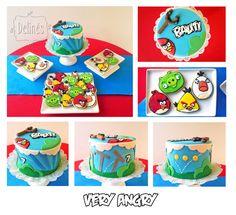 Torta y cookies con temática Angry Birds