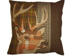 tweed mixed fabric animal applique cushion stag deer country natural wool