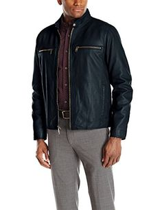 Andrew Marc Men's Lamb-Leather Moto Jacket with Perforated Detail