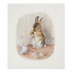 Beatrix Potter: Rabbit Drinking Tea Poster Print