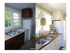 Kitchen countertops remodel with IKEA butcher block countertops.