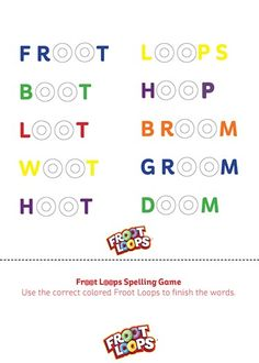 Froot Loops Spelling Game Busy Bag helps your child spell and sound out words