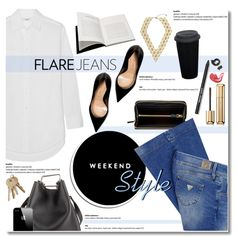 Flare Jeans Weekend Style by anna-anica on Polyvore featuring Madewell, GUESS, Sergio Rossi, 3.1 Phillip Lim, Miu Miu, Guerlain, Bobbi Brown Cosmetics, Browns, Dolce&Gabbana and casual