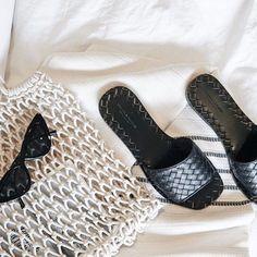 Bottega Veneta Black woven sandals, net bag, le specs sunglasses, casual sandals, luxe sandals, shoes, claire V bag, See More At www.HerFashionedLife.com