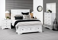 Quebec 4 Piece Tall Chest Queen Bedroom Suite | Super A-Mart