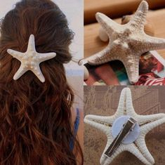 Starfish Hair Clips Beach Bridal Sea Shell Mermaid Festival Wedding (The money you paid to us do not include custom fees. Material: Starfish(it is normal to have smells). Festival Wedding, Boho Festival, Sea Hair, Diy Hair Accessories, Mermaid Hair Accessories, Seashell Crafts, Hair Barrettes, Costume Halloween, Sea Costume