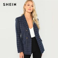 37bb1a1017 Shein navy cotton office lady elegant notched neck plaid double breasted  blazer women pocket autumn minimalist