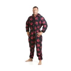 Classic Mens All In One Black And Red Skull Print Fleece Pocketed Pyjama  Onesie Size c237e3d2e