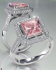 What is diamond color? It's part of the of diamond education and it's talking about the lack of color in a diamond. Here you'll discover what you need to know about diamond color, as well as, myths, tricks to watch out for, and money saving tips. Pink Diamond Engagement Ring, Pink Diamond Ring, Pink Sapphire, Diamond Princess, Princess Cut, Tiffany Engagement, Pink Topaz, Black Diamond, Bling Bling