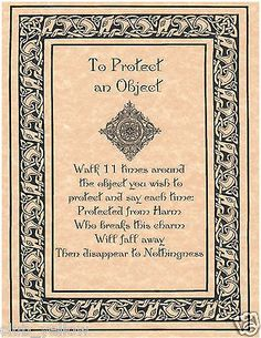 TO PROTECT AN OBJECT Book of Shadows Page BOS Pages Real Witchcraft Spell