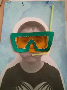 photocopy of child, water colour background, make goggles and use straw for snorkel