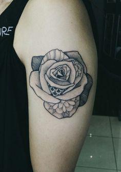 Blackwork Rose Tattoo Design by Barb Rebelo