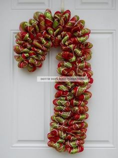 Candy Cane Mesh Wreath NEW ITEM by dottiedot05 on Etsy, $70.00