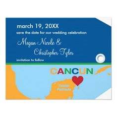 Shop Cancun Luggage Tag Save the Date Announcement created by marlenedesigner. Custom Invitations, Wedding Invitations, Good Cheer, Personal Photo, Cancun, Celebrity Weddings, Save The Date, Announcement, Rsvp