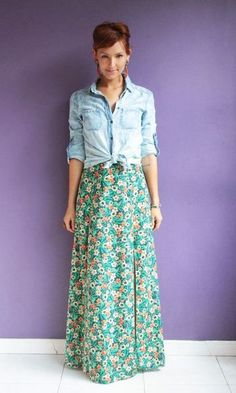 Ideas for fashion hipster vintage floral skirts Modest Outfits, Skirt Outfits, Modest Fashion, Casual Outfits, Cute Outfits, Fashionista Trends, Look Fashion, Trendy Fashion, Girl Fashion