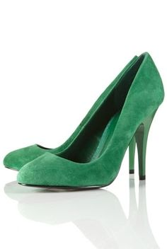 GLAM Green Suede Court Shoes - StyleSays