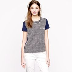 J. Crew navy tweed knit short sleeve tee shirt New with tags attached J. Crew short sleeve navy tweed knit short sleeve shirt with comfortable stretchy knit back panel in size XXS. J. Crew Tops Tees - Short Sleeve