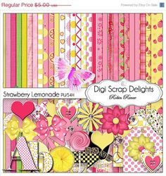 40 Off SALE Pink &Yellow Digital Scrapbook by DigiScrapDelights