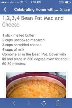 Mac  Cheese (using Bean Pot from Celebrating Home)