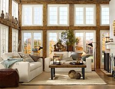 Living room #potterybarn  Where did they get all that reclaimed wood - amazing!