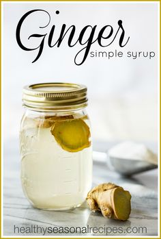 Here is a recipe for simple syrup infused with fresh ginger root. Just sugar, water and a few slices of ginger. Use to sweeten drinks, sorbet and desserts. Triple Sec, Cocktails, Cocktail Recipes, Mojito, Roast Beef Sliders, Ginger Syrup, Ginger Ale, Homemade Syrup, Cooking Challenge