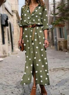Buy Dresses, Online Shop, Women's Fashion Dresses for Sale - Floryday Mode Outfits, Chic Outfits, Latest Fashion For Women, Womens Fashion, Fashion Online, Outfit Elegantes, Polka Dot Maxi Dresses, Vestido Casual, Polka Dot Shirt
