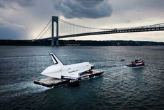 Space Shuttle Enterprise Carried By Barge To Intrepid Air And Space Museum