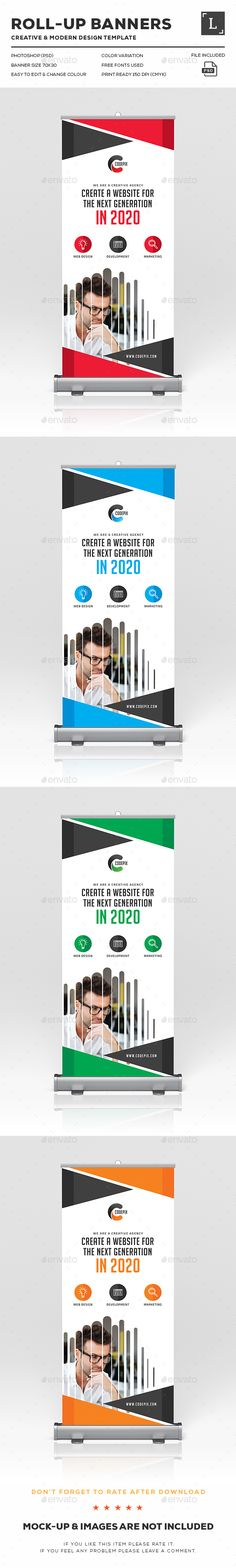 Roll-Up Banners Design Template PSD. Download here: http://graphicriver.net/item/rollup-banners/16398542?ref=ksioks