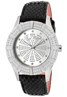 Paris Hilton Women's Heiress White Crystal Silver/Silver Glitter Dial Black Genuine Calf Leather discovered on Fantasy Shopper Discount Watches, Paris Hilton, Silver Glitter, Calf Leather, Calves, Give It To Me, Style Inspiration, Crystals, Accessories
