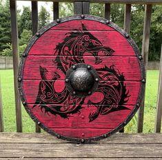 Red Wolf Fenrir Viking Shield Red Fenrir Viking Shield with Battleworn finish Fenrir Tattoo, Norse Tattoo, Viking Tattoos, Armor Tattoo, Warrior Tattoos, Escudo Viking, Viking Halloween Costume, Vikings Halloween, Art Viking