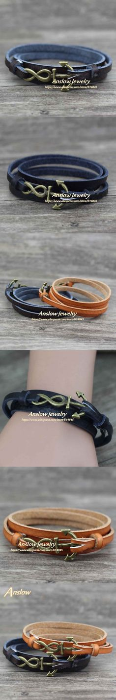 Anslow New Arrivals Vintage Retro Ancient Bronze Infinity Anchor Leather Bracelet 85cm Length Friendship Free Shipping LOW0359LB