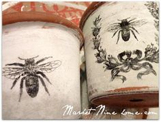 Make some Bee Garden Pots, with free Transfers! Project by Market Nine Home.