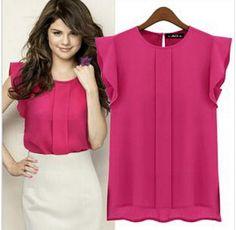 2014 Nova Moda Mulheres Chiffon mangas babados blusa camisa Tops Collar cor sólida Blusas OL Estilo Rodada 4 cores SML XL