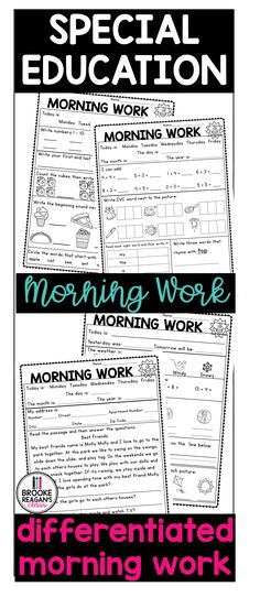 Special education morning work that is differentiated and practices a wide range of skills. This morning work is great for independent practice on student IEP goals. #morningwork #differentiatedmorningwork #specialeducationmorningwork #iepgoalpractice Morning Work, Work Today, Differentiation, Special Education, Range, Student, Goals, Writing, School