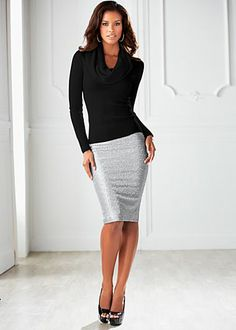 Cowl sweater, sequin pencil skirt, heel  Click the website to see how I lost 21 pounds in one month with free trials