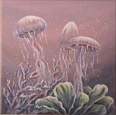 Acrylmalerei - TANZ DER QUALLEN - KUNST BILD KORALLENRIFF MALEREI - ein Designerstück von acrylfee bei DaWanda