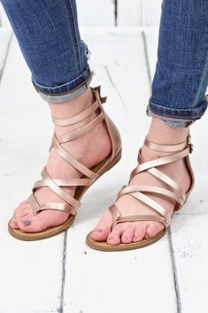 ccc89cb91628 Bungalow Strappy Zip Back Sandals  Rose Gold . TFL
