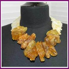 """Huge Natural Amber Runway Necklace *Huge pieces of Amber w/ Agate spikes. The Amber is a fossilized stone in natural condition. 21""""L, Linda Feld's D G Studio Collection: """"Statement collection of one-of-a-kind jewelry using quality gem stones and findings. Often paired with vintage and estate jewelry…creating individual pieces for your jewelry collection..."""" T Linda Feld, # 17300-jewl2031, Retail Value $895."""
