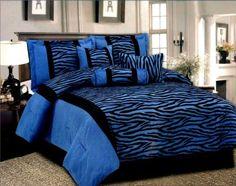 Queen Black/Blue 7 Pcs Luxury Micro Fur Zebra Pattern Bed In A Bag Comforter Set by AHF, http://www.amazon.com/dp/B006WEE9DW/ref=cm_sw_r_pi_dp_m31-qb1EXN33N