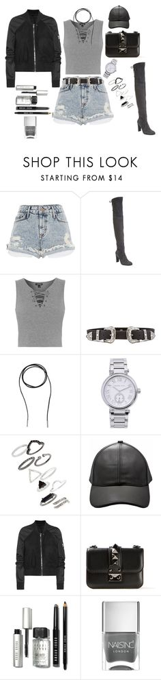 """""""Untitled #27"""" by manerefortis ❤ liked on Polyvore featuring River Island, Stuart Weitzman, Topshop, B-Low the Belt, Bølo, MICHAEL Michael Kors, Rick Owens, Valentino, Bobbi Brown Cosmetics and Nails Inc."""