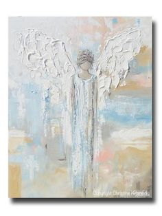 "ORIGINAL Abstract Angel Painting Textured Guardian Angel Blue White 30"" – Contemporary Art by Christine"