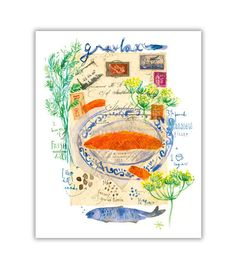 Gravlax Scandinavian recipe illustration print by lucileskitchen